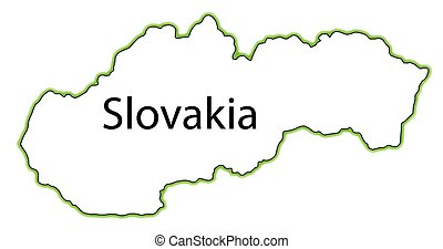 Slovakia - Outline map of Slovakia over a white background