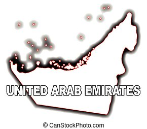 United Arab Emirates - Outline map of the Arab League...