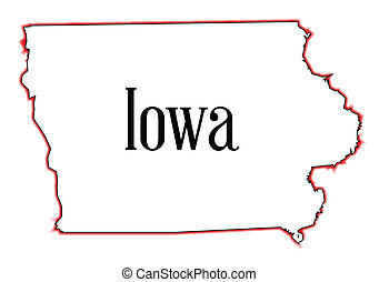 Iowa - Outline map of the state of Iowa over a white ...