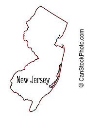 New Jersey - Outline map of the state of New Jersey over a...