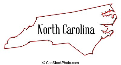 Outline map of the state of North Carolina