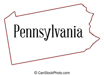 Pennsylvania - Outline map of the state of Pennsylvania