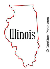 Outline map of the USA state of Illinois over a white background