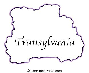 Outline map of Transylvania over a white background