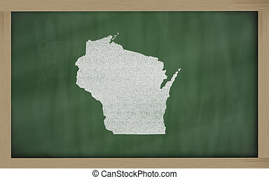drawing of wisconsin state on chalkboard, drawn by chalk