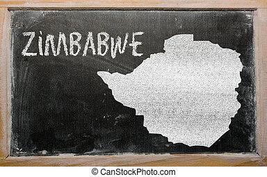 outline map of zimbabwe on blackboard - drawing of zimbabwe ...