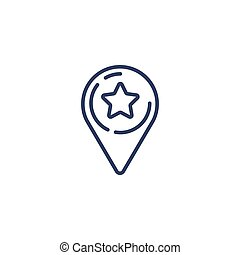 Outline map pointer star icon isolated on white background