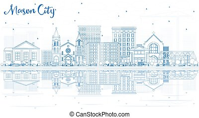 Outline Mason City Iowa Skyline with Blue Buildings and ...
