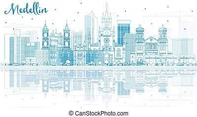 Outline Medellin Skyline with Blue Buildings and Reflections.