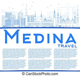 Outline Medina Skyline with Blue Buildings and Copy Space....