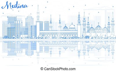 Outline Medina Skyline with Blue Buildings and Reflections....