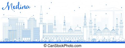 Outline Medina Skyline with Blue Buildings. Vector...