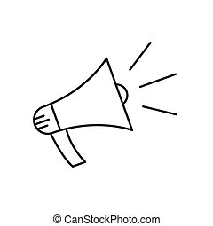Outline Megaphone icon isolated - vector.