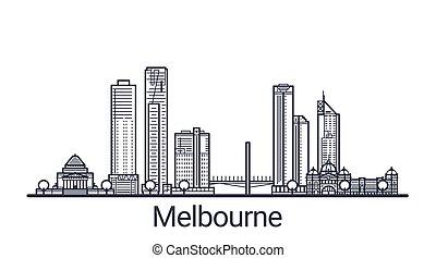 Outline Melbourne banner - Linear banner of Melbourne city. ...