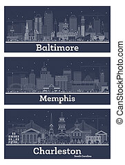 Outline Memphis Tennessee, Charleston South Carolina and Baltimore Maryland City Skyline Set.
