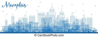 Outline Memphis Tennessee City Skyline with Blue Buildings.