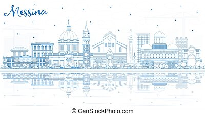 Outline Messina Sicily Italy City Skyline with Blue...