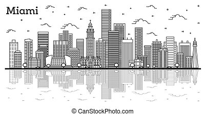 Outline Miami Florida City Skyline with Modern Buildings and Reflections Isolated on White. Vector Illustration. Miami USA Cityscape with Landmarks.