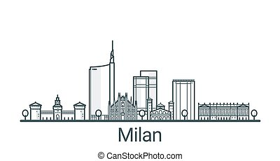 Linear banner of Milan city. All buildings - customizable different objects with background fill, so you can change composition for your project. Line art.