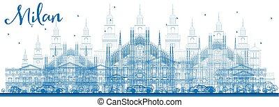 Outline Milan Skyline with Blue Landmarks. Vector...