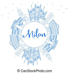 Outline Milan Skyline with Blue Landmarks and Copy Space....