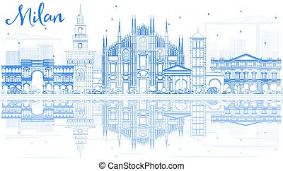 Outline Milan Skyline with Blue Landmarks and Reflections....