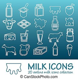 outline milk icons