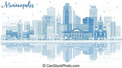 Outline Minneapolis USA Skyline with Blue Buildings and Reflections. Vector Illustration. Business Travel and Tourism Concept with Modern Architecture. Minneapolis Minnesota Cityscape with Landmarks.