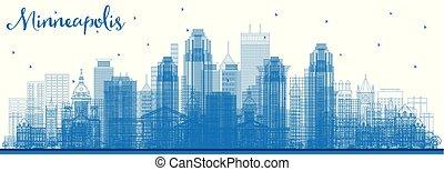 Outline Minneapolis Minnesota USA Skyline with Blue...