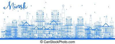 Outline Minsk skyline with blue buildings.