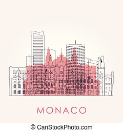 Outline Monaco skyline with landmarks.
