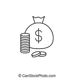 Outline money icon isolated on white background