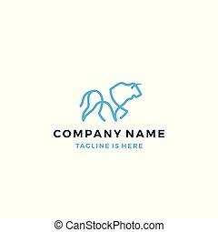 outline monoline bull logo lineart vector template illustration