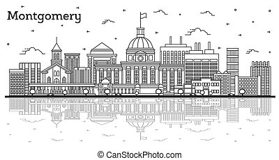 Outline Montgomery Alabama City Skyline with Modern Buildings and Reflections Isolated on White. Vector Illustration. Montgomery USA Cityscape with Landmarks.