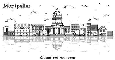 Outline Montpelier Vermont City Skyline with Modern ...