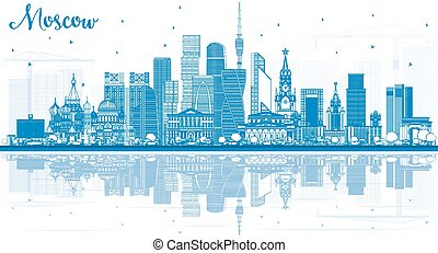 Outline Moscow Russia Skyline with Blue Buildings and Reflections.