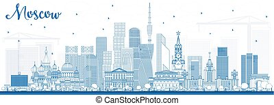 Outline Moscow Russia Skyline with Blue Buildings. Vector...
