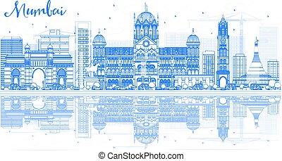 Outline Mumbai Skyline with Blue Landmarks and Reflections.