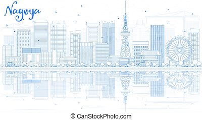 Outline Nagoya Skyline with Blue Buildings and Reflection.