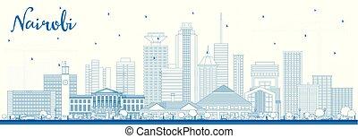Outline Nairobi Kenya City Skyline with Blue Buildings....