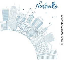 Outline Nashville Skyline with Blue Buildings and Copy Space.