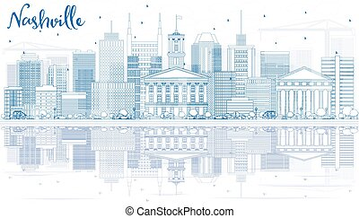 Outline Nashville Skyline with Blue Buildings and Reflections.