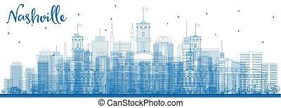 Outline Nashville Skyline with Blue Buildings.