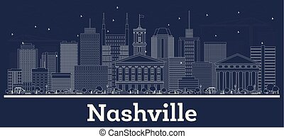 Outline Nashville Tennessee USA City Skyline with White Buildings.