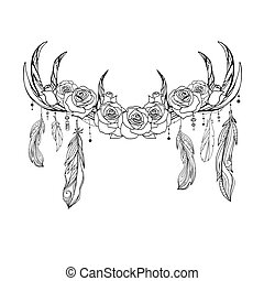 Outline native drawing of deer antlers with feathers and roses. Tribal illustration. Vector boho element
