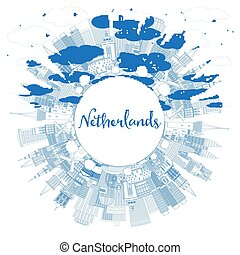 Outline Netherlands Skyline with Blue Buildings and Copy Space.
