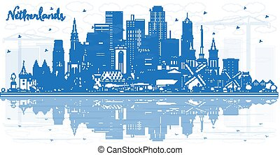 Outline Netherlands Skyline with Blue Buildings.