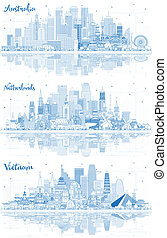 Outline Netherlands, Vietnam and Australia Skyline with Blue Buildings and Reflections.