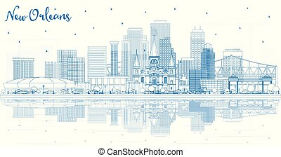 Outline New Orleans Louisiana City Skyline with Blue Buildings and Reflections. Vector Illustration. Tourism Concept with Modern Architecture. New Orleans USA Cityscape with Landmarks.