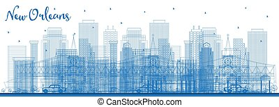 Outline New Orleans Louisiana City Skyline with Blue Buildings.